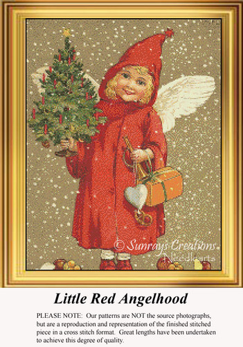 Little Red Angelhood, Vintage Counted Cross Stitch Pattern