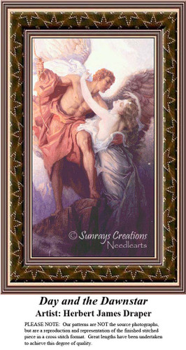 Day and the Dawnstar, Fine Art Counted Cross Stitch Pattern, Romance Counted Cross Stitch Pattern