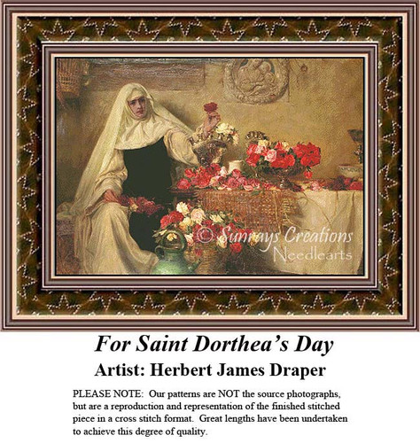For Saint Dorthea's Day, Fine Art Counted Cross Stitch Pattern, Women Counted Cross Stitch Pattern