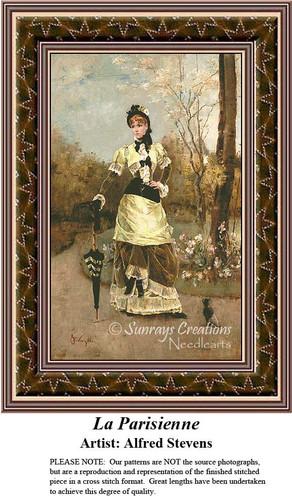 La Parisienne, Fine Art Counted Cross Stitch Pattern, Women Counted Cross Stitch Pattern