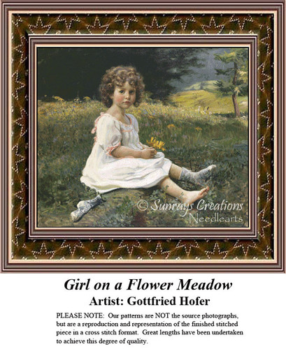 Girl on a Flower Meadow, Fine Art Counted Cross Stitch Pattern, Children Counted Cross Stitch Pattern