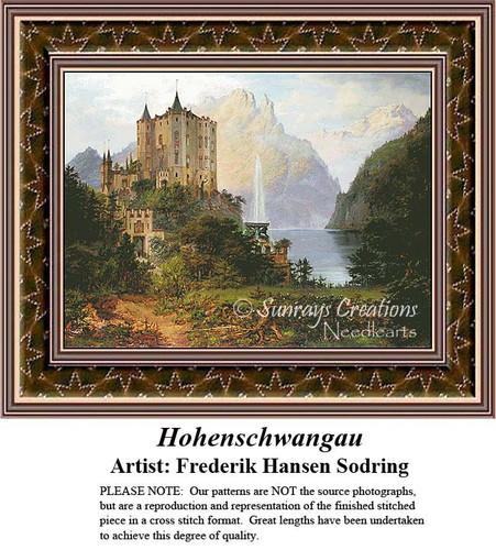 Hohenschwangau, Architecture Counted Cross Stitch Pattern, Fine Art Counted Cross Stitch Pattern