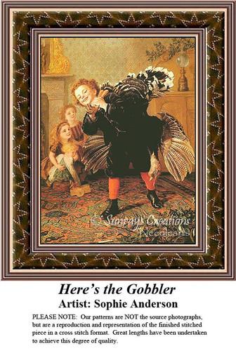 Here's the Gobbler, Fine Art Counted Cross Stitch Pattern, Children Counted Cross Stitch Pattern