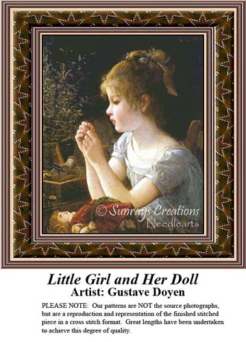 Little Girl and her Doll, Fine Art Counted Cross Stitch Pattern