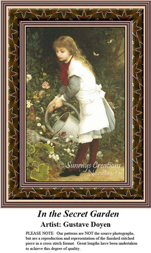 In the Secret Garden, Fine Art Counted Cross Stitch Pattern, Children Counted Cross Stitch Pattern