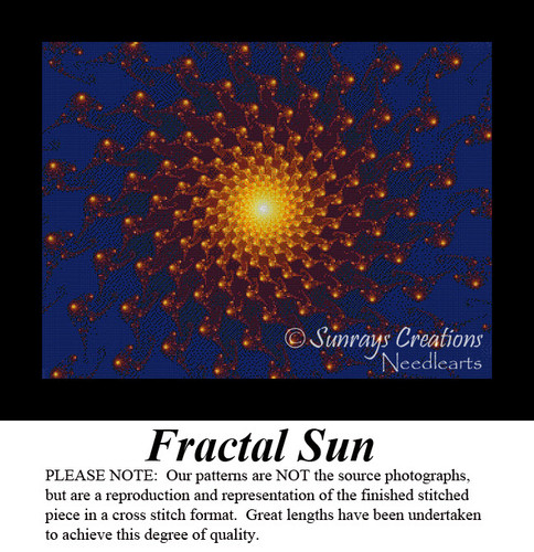 Fractal Sun, Fractal Counted Cross Stitch Pattern