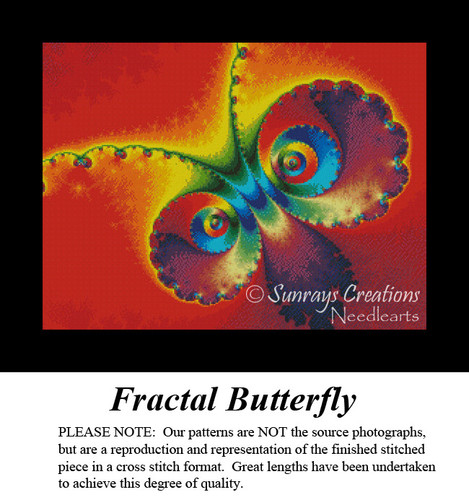Fractal Butterfly, Fractal Counted Cross Stitch Pattern