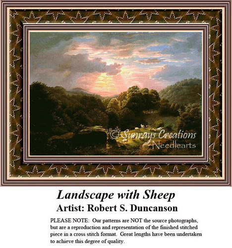 Landscape with Sheep, Fine Art Counted Cross Stitch Pattern Robert S. Duncanson
