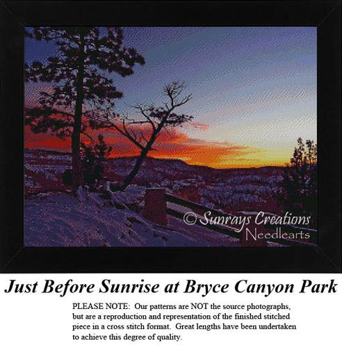 Just Before Sunrise at Bryce Canyon Park, Landscape Cross Stitch Pattern