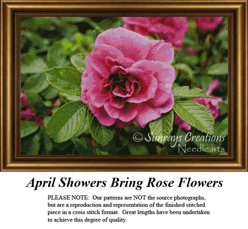 April Showers Bring Rose Flowers, Counted Cross Stitch Pattern