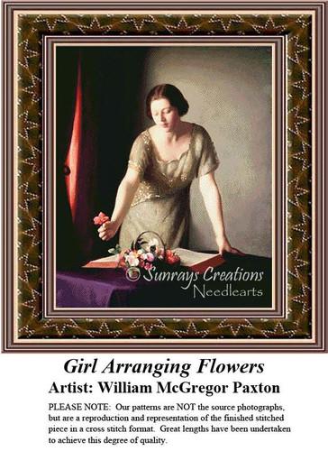 Girl Arranging Flowers, Fine Art Counted Cross Stitch Pattern, Women Counted Cross Stitch Pattern