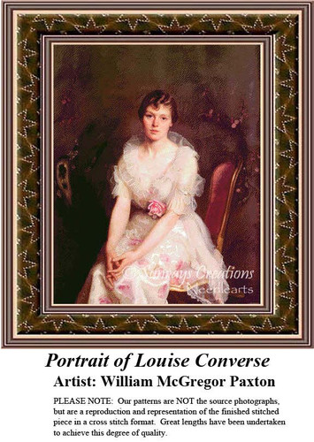 Portrait of Louise Converse, Fine Art Counted Cross Stitch Pattern, Women Counted Cross Stitch Pattern