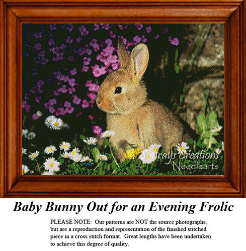 Baby Bunny Out for an Evening Frolic, Animal Cross Stitch Pattern