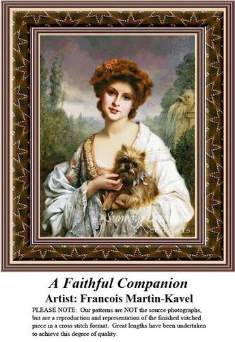 A Faithful Companion, Fine Art Counted Cross Stitch Pattern, Women Counted Cross Stitch Pattern