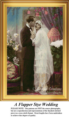 A Flapper Style Wedding, Vintage Cross Stitch Pattern