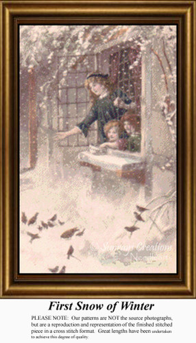 First Snow of Winter, Vintage Counted Cross Stitch Pattern, Winter Counted Cross Stitch Pattern