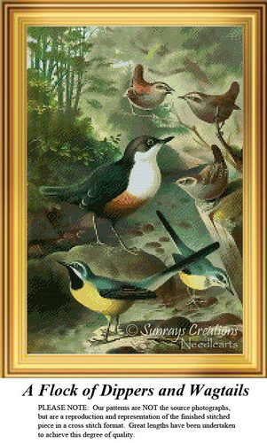 A Flock of Dippers and Wagtails, Vintage Counted Cross Stitch Pattern