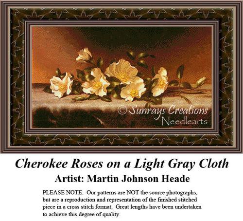 Cherokee Roses on a Light Gray Cloth, Fine Art Cross Stitch Pattern