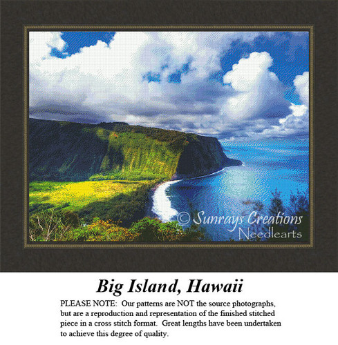 Big Island, Hawaii, Alluring Landscape Counted Cross Stitch Pattern