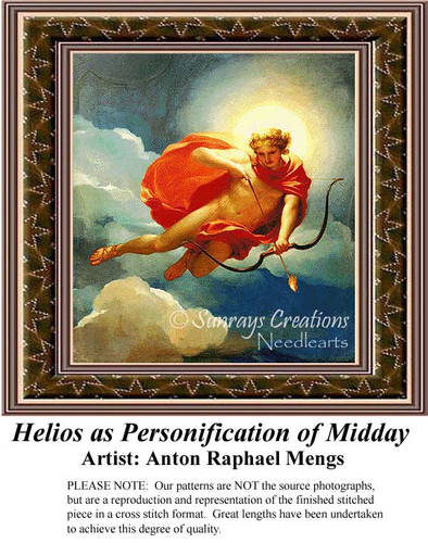 Helios as Personification of Midday, Fine Art Counted Cross Stitch Pattern