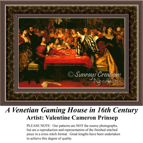 A Venetian Gaming House in 16th Century, Fine Art Counted Cross Stitch Pattern, Social Counted Cross Stitch Pattern