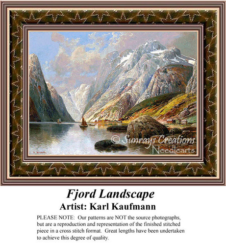 Fjord Landscape, Fine Art Counted Cross Stitch Pattern, Alluring Landscapes Counted Cross Stitch Pattern