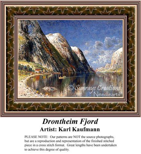 Drontheim Fjord, Fine Art Counted Cross Stitch Pattern, Alluring Landscapes Counted Cross Stitch Pattern