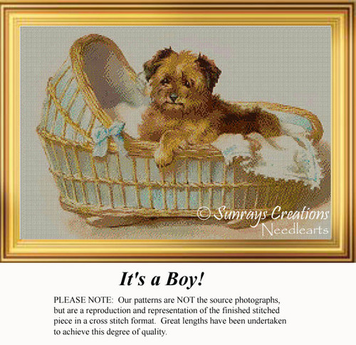 It's a Boy! Vintage Dog Cross Stitch Pattern