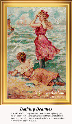 Bathing Beauties, Vintage Counted Cross Stitch Pattern