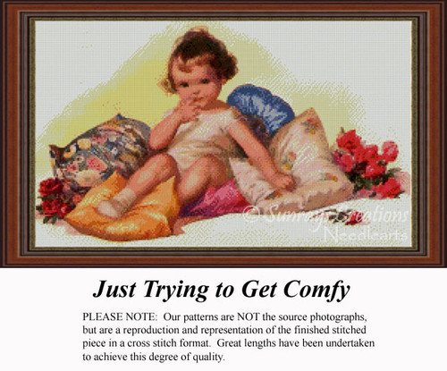 Just Trying to Get Comfy, Vintage Counted Cross Stitch Pattern