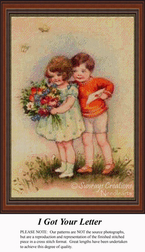 I Got Your Letter, Vintage Counted Cross Stitch Pattern