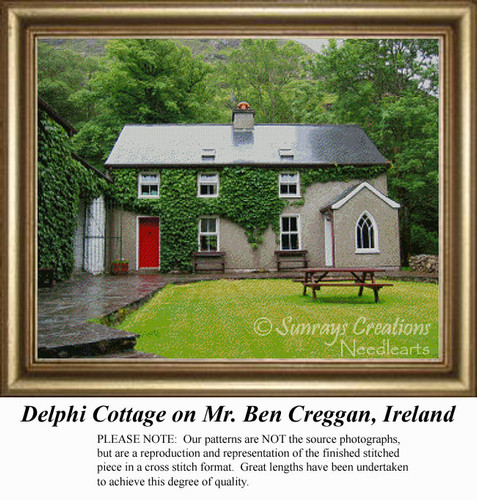 Delphi Cottage on Mt. Ben Creggan, Ireland, Irish Counted Cross Stitch Pattern