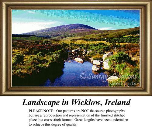 Landscape in Wicklow, Ireland, Irish Counted Cross Stitch Pattern