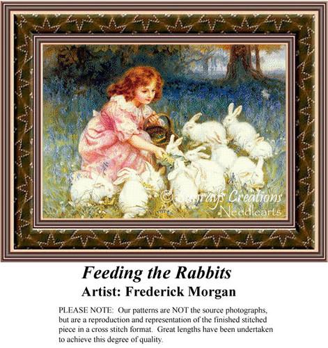 Feeding the Rabbits, Fine Art Counted Cross Stitch Pattern, Animals Counted Cross Stitch Pattern, Children Counted Cross Stitch Pattern