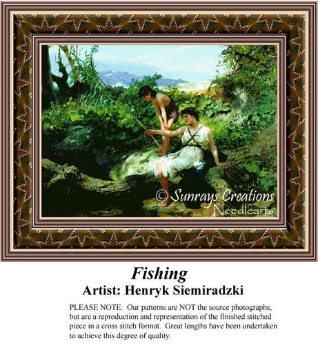 Fishing, Fine Art Counted Cross Stitch Pattern, Social Counted Cross Stitch Pattern