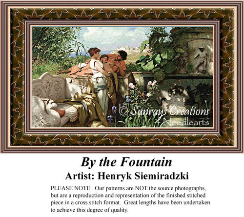By the Fountain, Fine Art Counted Cross Stitch Pattern, Family Counted Cross Stitch Pattern