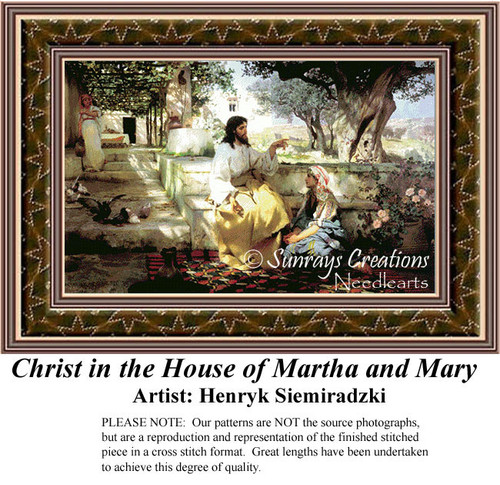 Christ in the House of Martha and Mary, Religious Cross Stitch Pattern
