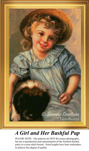 A Girl and Her Bashful Pup, Vintage Counted Cross Stitch Pattern