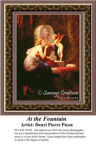At the Fountain, Fine Art Counted Cross Stitch Pattern