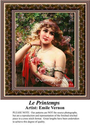 Le Printemps, Fine Art Counted Cross Stitch Pattern