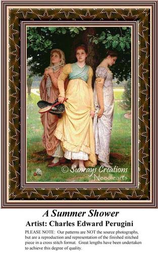 A Summer Shower, Fine Art Counted Cross Stitch Pattern, Summer Counted Cross Stitch Pattern