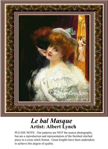 Le bal Masque, Fine Art Counted Cross Stitch Pattern, Romance Counted Cross Stitch Pattern