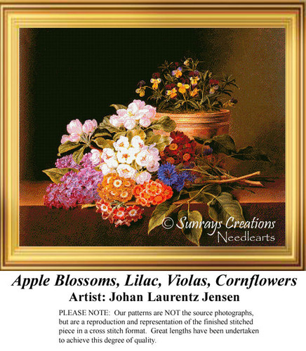 Apple Blossoms, Lilac, Violas, Cornflowers Counted Cross Stitch Pattern