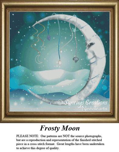 Frosty Moon, Fantasy Cross Stitch Pattern
