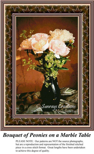 Bouquet of Peonies on a Marble Table, Flower Cross Stitch
