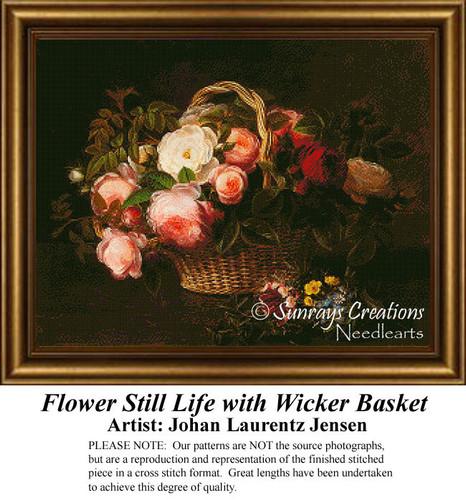 Flower Still Life with Wicker Basket Cross Stitch Pattern