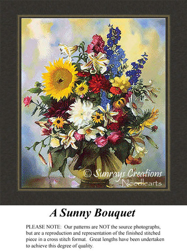 A Sunny Bouquet, Flowers Cross Stitch Pattern