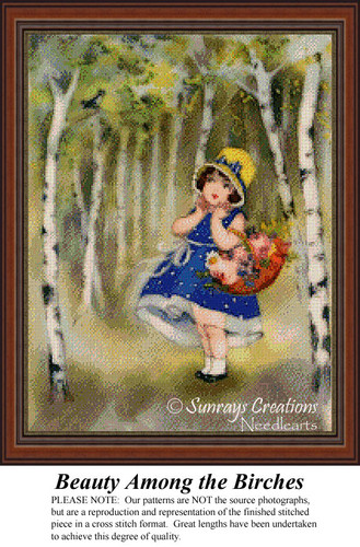 Beauty Among the Birches, Vintage Cross Stitch Pattern