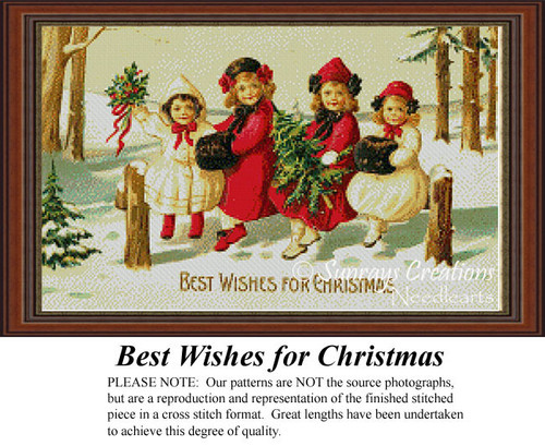 Best Wishes for Christmas, Nostalgic Cross Stitch Pattern