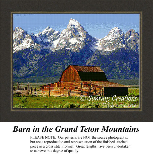 Barn in the Grand Teton Mountains, Landscape Cross Stitch Pattern